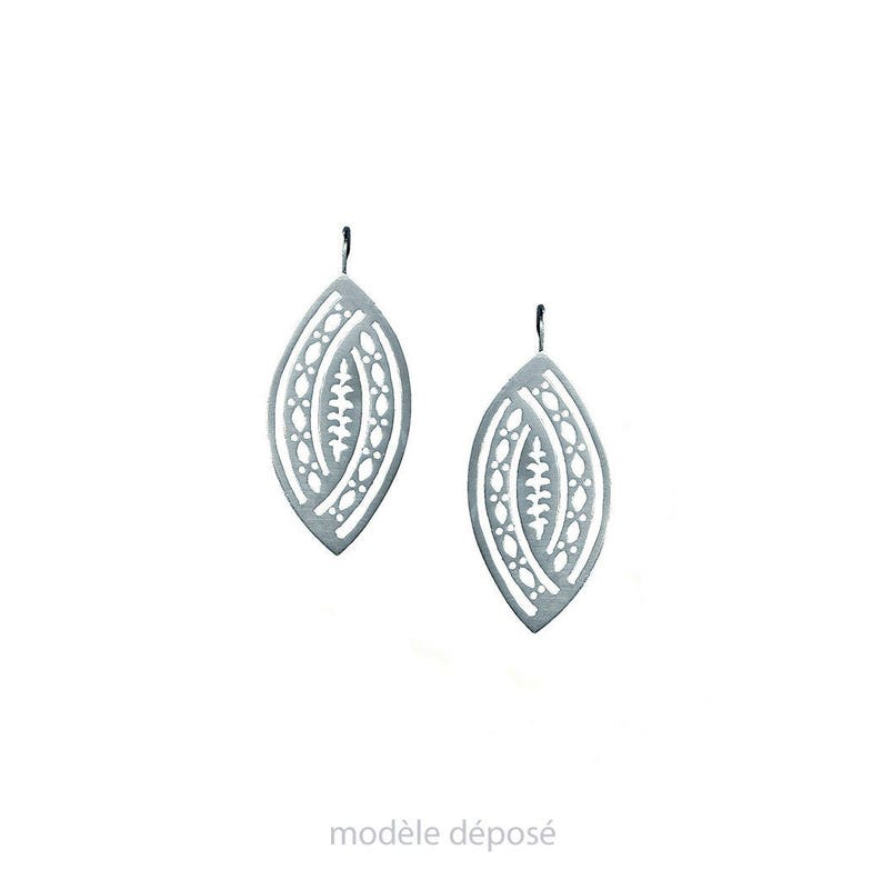 LACE silver EARRINGS solid design contemporary and image 0