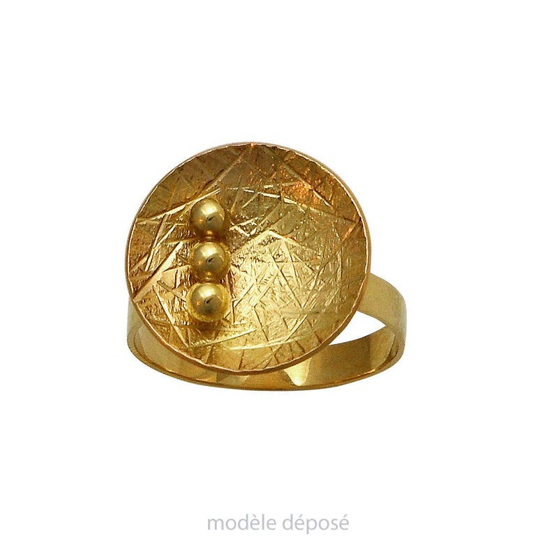 RING dome version Yellow Gold 3 balls. Contemporary jewelry image 0