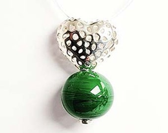 """Heart pendant - """"Love'nFire"""" collection - silver and glass bead"""