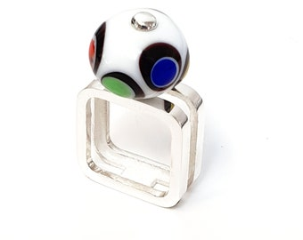 CADRATUS Ring - Glass'nFire collection - silver and glass pearl
