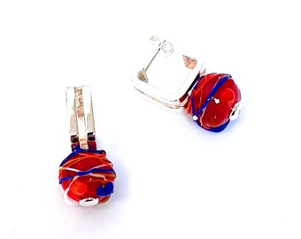 """CADRATUS earrings - """"Glass'nFire"""" collection - silver and glass bead"""