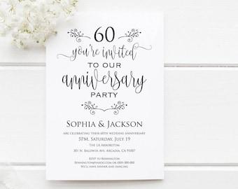 60th anniversary invitation surprise anniversary party etsy