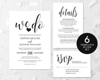rustic wedding invitation pdf etsy