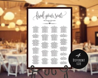 Alphabet Find your Seat Chart, Printable Wedding Seating Chart, Wedding Seating Poster, Wedding Seating, Wedding Seating Board,LDS_112