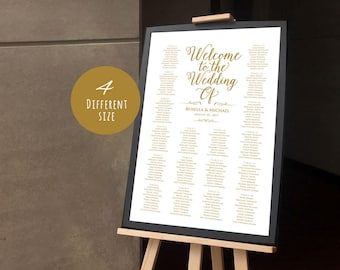 Gold,Wedding seating chart, printable seating chart, Seating ChartTemplate,engagement seating chart,Seating Board,Find your seat sign,LDS_33