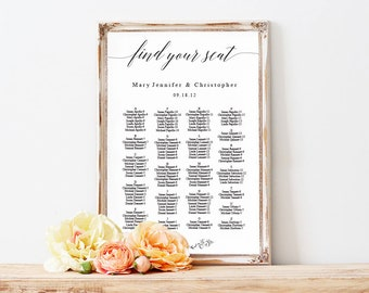 Alphabet Find your Seat Chart, Printable Wedding Seating Chart, Wedding Seating Poster, Wedding Seating, Wedding Seating Board,LDS_111