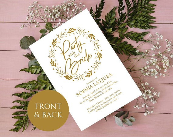 gold bachelorette party invitation itinerary printable etsy