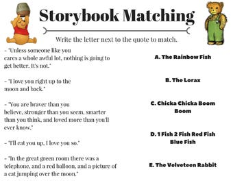 Storybook Matching Baby Shower Game