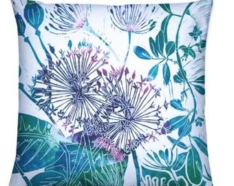 Magenta and Emerald Green, Botanical Scene Throw Cushion/ Home Decor/ Pillow