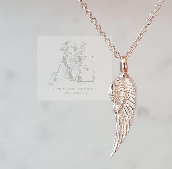 Angel Wing Urn Necklace: Silver Angel Wing Necklace Urn Necklace Ash Necklace Ash