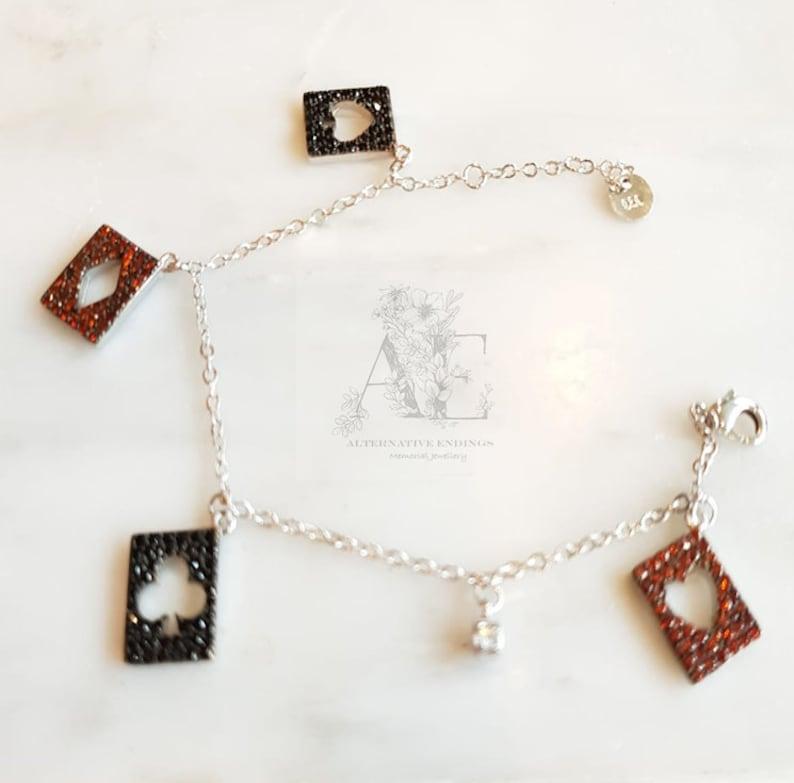 black jack jewelry Playing Cards Bracelet black jack gift Alice in Wonderland Bracelet Poker Bracelet Poker Jewelry Card Charm Gift