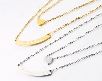 Heart & Blank Bar for Personalization Two Layer Necklace