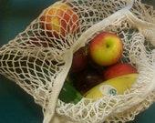 Cotton Market Bag Zero Waste Eco Friendly Sustainable String Shopping Bag French Market Style Boho Grocery Bag