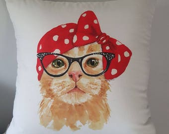 Pin-up cat cushion cover