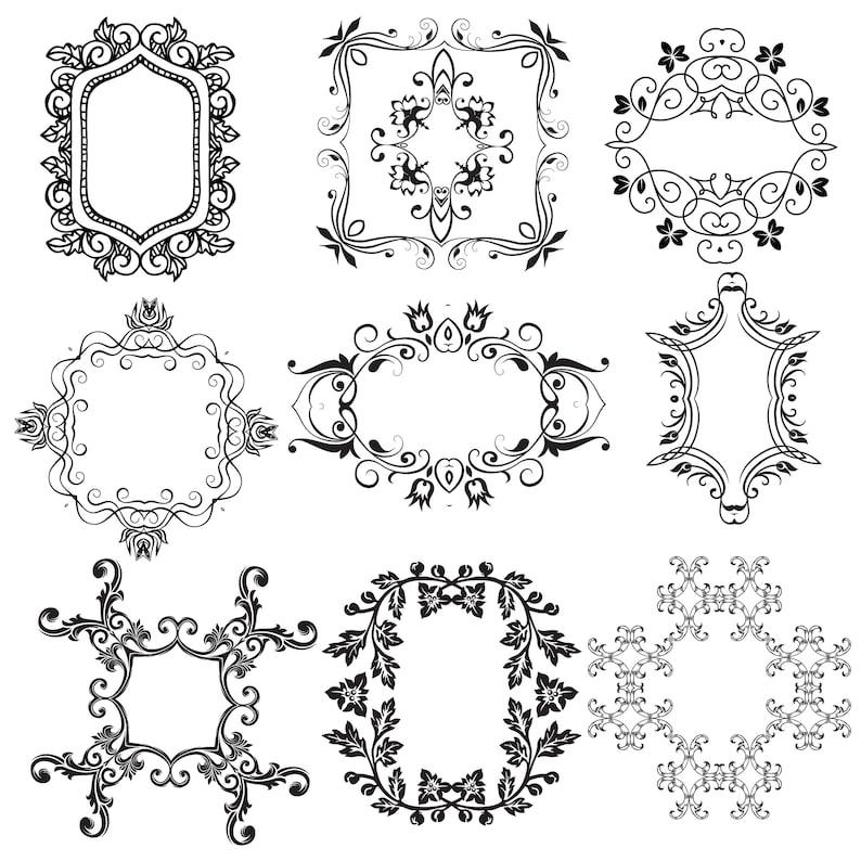 Wedding Clipart Frames Calligraphic Frames Digital Clip Art
