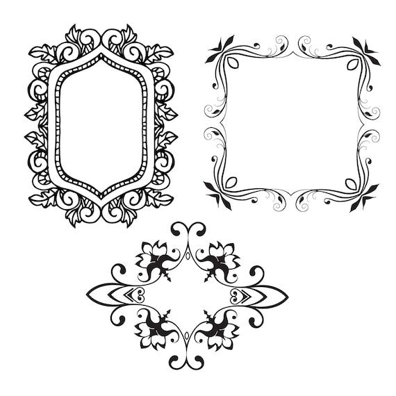 Wedding clipart frames Calligraphic Frames Digital clip Art   Etsy
