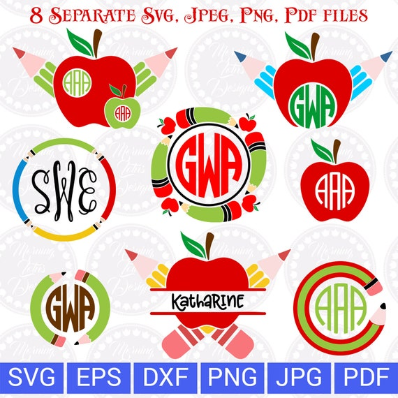 Monogram Svg Back To School Teacher Svg Monogram Apple Svg Etsy