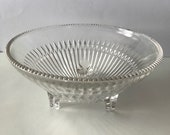 Vintage Three Footed Clear Cut Glass Candy Dish