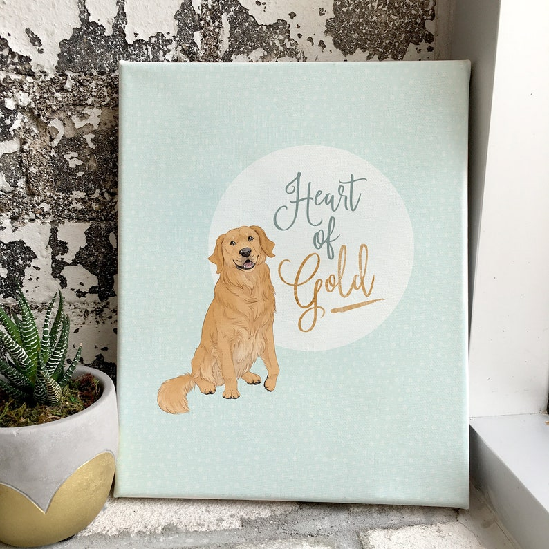 titled Heart of Gold Golden retriever canvas art print for dog lovers
