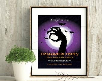Zombie invitation etsy halloween or zombie invitation card or flyer pdf jpeg purple black template customizabyle printable editable do it yourselfdiy stopboris Gallery