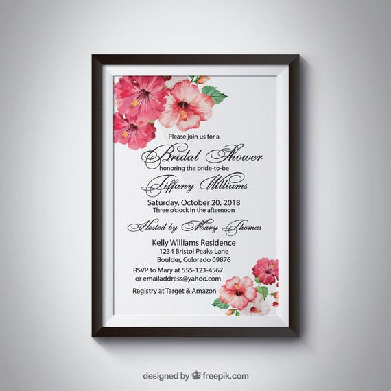 Printable Wedding Invitation Tropical Template Bridal Shower Birthday Party Do It Yourself DIY