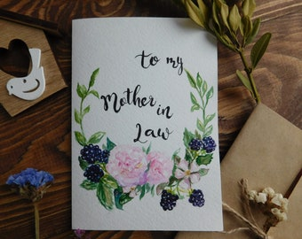 Hand Painted Watercolor Card,Watercolor card for Mothers day,Watercolor card for Mother in Law,Mother in Law card,Watercolor Flower wreth