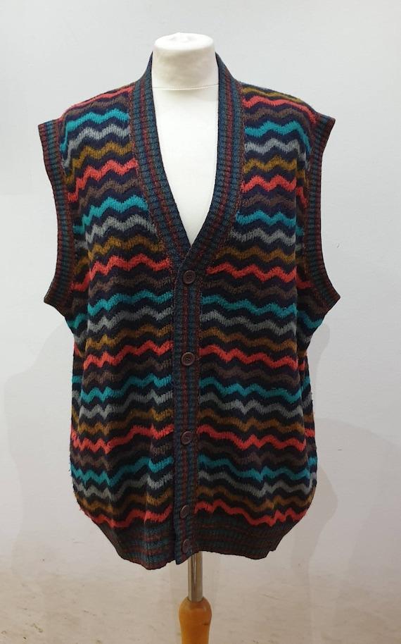 Missoni knitted vest multicolor sleeveless men's s