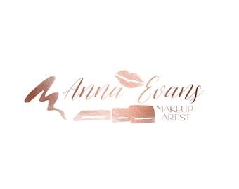 Pre-made Logo/ Watermark: Rose gold makeup artist logo. rosegold sub mark, lips & lipstick   mini branding kit - 29