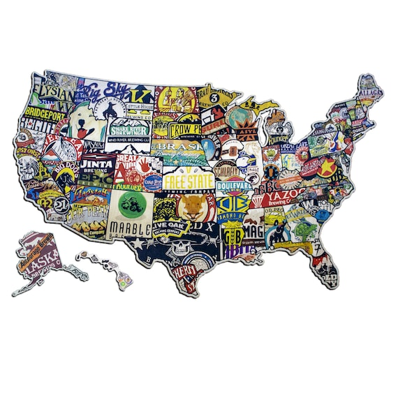 Us Map Made Out Of State Brewery Signs Wall Decor Beer Sign Bar Decor United States Craft | Etsy