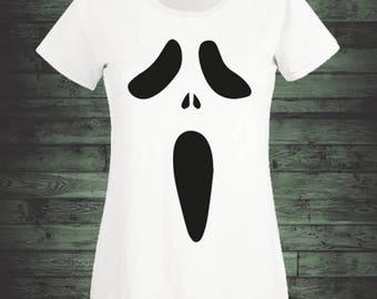 ladies halloween t shirt screaming ghost face women white halloween t shirt