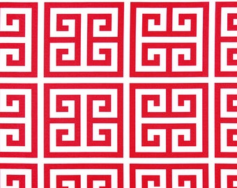 Premier Prints Outdoor Apollo Calypso - Fabric by the Yard - Calypso Red and White Greek Key