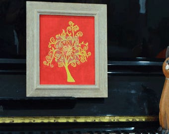 Real Wood Frame with Thai Drawing, Gold Tree on red background.