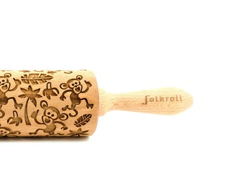 Monkeys pattern Wooden Rolling Pin Print Animal lover gift Monkey Rolling Pin Baker gift for kids for Her for children Junior Rolling Pin