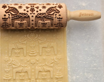SWEDISH DALA HORSE junior engraved rolling pin for cookies, embossing rolling pin, laser rolling pin