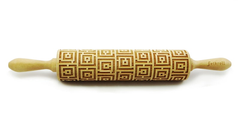 Wolf design Embossing rolling pin Cookies decorating wooden rolling pin