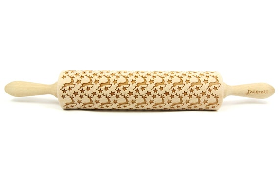 Junior rolling pin for cookies embossing roller. Lovely turtles