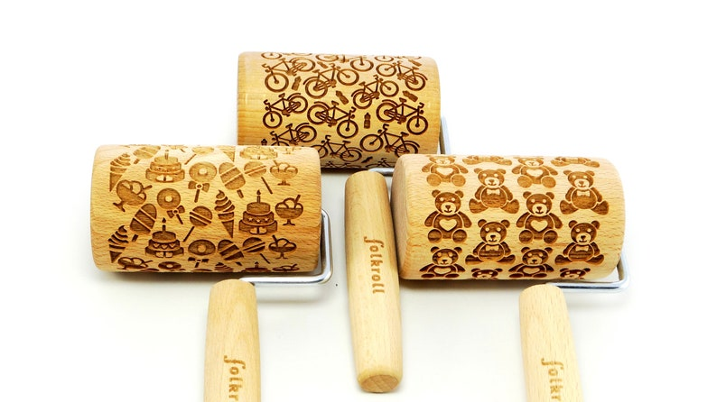 laser rolling pin embossing rolling pin SET OF THREE junior engraved rolling pins for cookies
