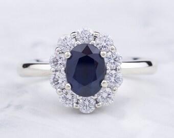 Sapphire and Diamond Halo Ring 14k