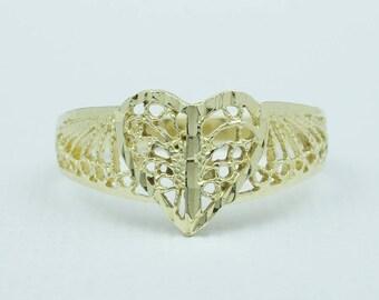 Vintage Filigree Heart Ring 14k