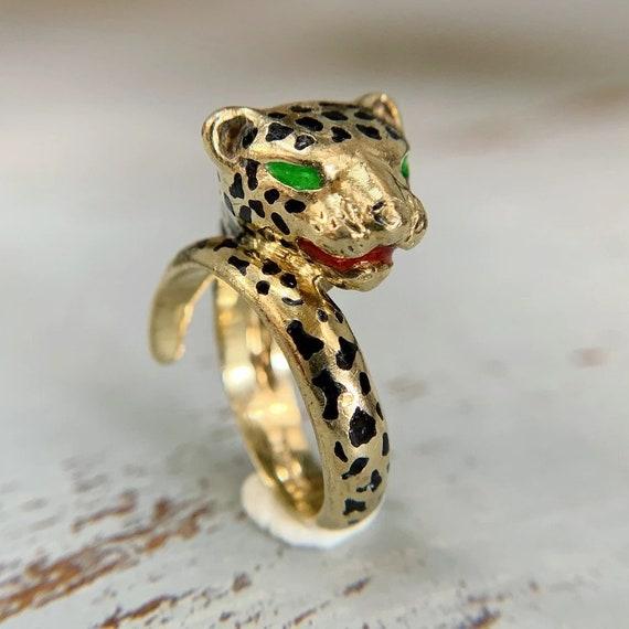 Enamel Cheetah Ring 14k