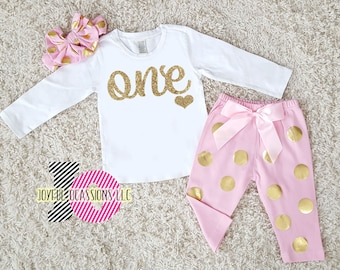 e85d57437 1st Birthday Pants Outfit Winter - Cute Pink White Gold Polka Dot First  Birthday Glitter Birthday Age Fall Set For One Year Old Baby Girls