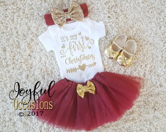 baby girl christmas tutu outfit cute burgundy maroon and gold glitter its my first christmas infant newborn outfit coming home outfit
