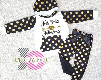4th Birthday Pants Outfit Winter - Cute Black Gold Polka Dot Toddler Girl  Birthday Hoodie   Pants Set For Four Year Old Birthday Party 94dd53ba7