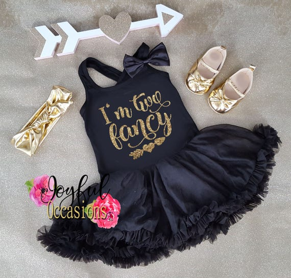e24c27d2cc4 2nd Birthday Tutu Dress Cute I m Two Fancy Black and