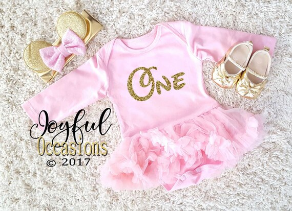 1st Birthday Tutu Dress Baby Girl Cute 2pc Pink And Gold