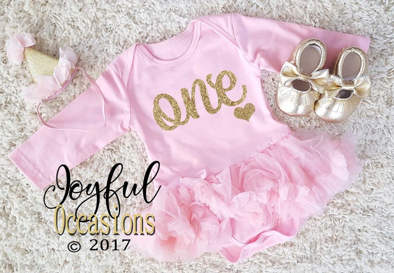 1f81ab5d6 1st Birthday Tutu Dress Baby Girl Cute 2pc Pink and Gold | Etsy