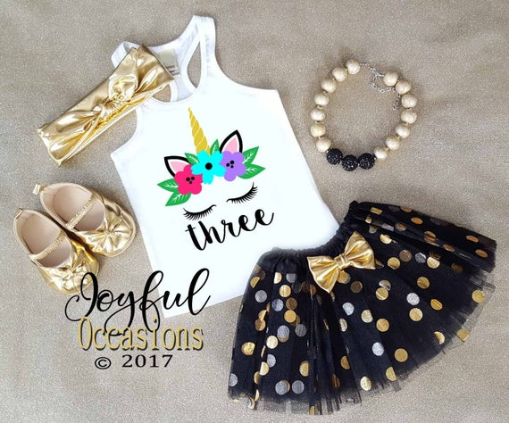 5914aab8df Unicorn Birthday Outfits Cute Black Gold Unicorn 1st 2nd 3rd