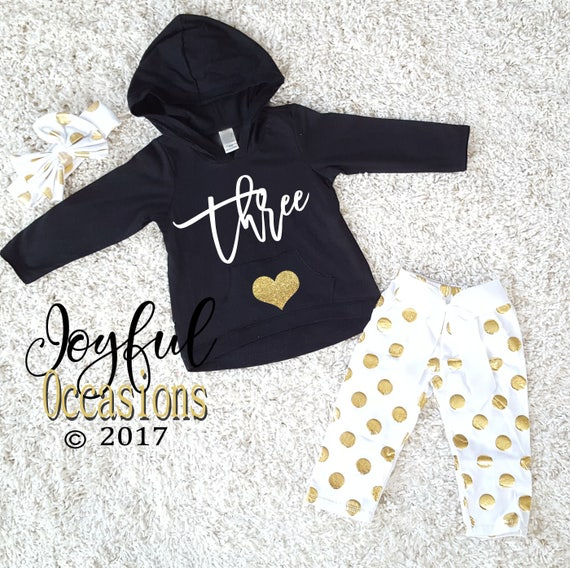 Birthday Pants Outfit Winter Cute Black White Gold Polka Dot  16dadc272