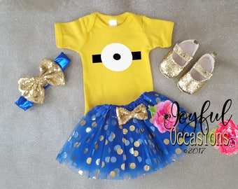 Minion Tutu Outfits - Cute 2 Pc Minion Halloween Costume - Minion Birthday Outfit For Baby Girls Toddler Girls Long Sleeves Available