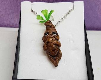 Mini mandrake (mandragola) necklace inspired by Harry Potter